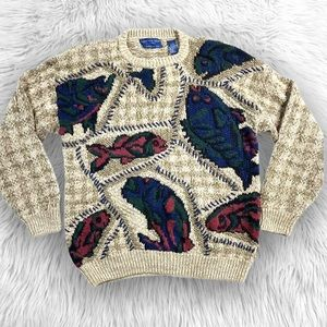 VTG 90's Northern Isles Hand Knitted Fish Sweater